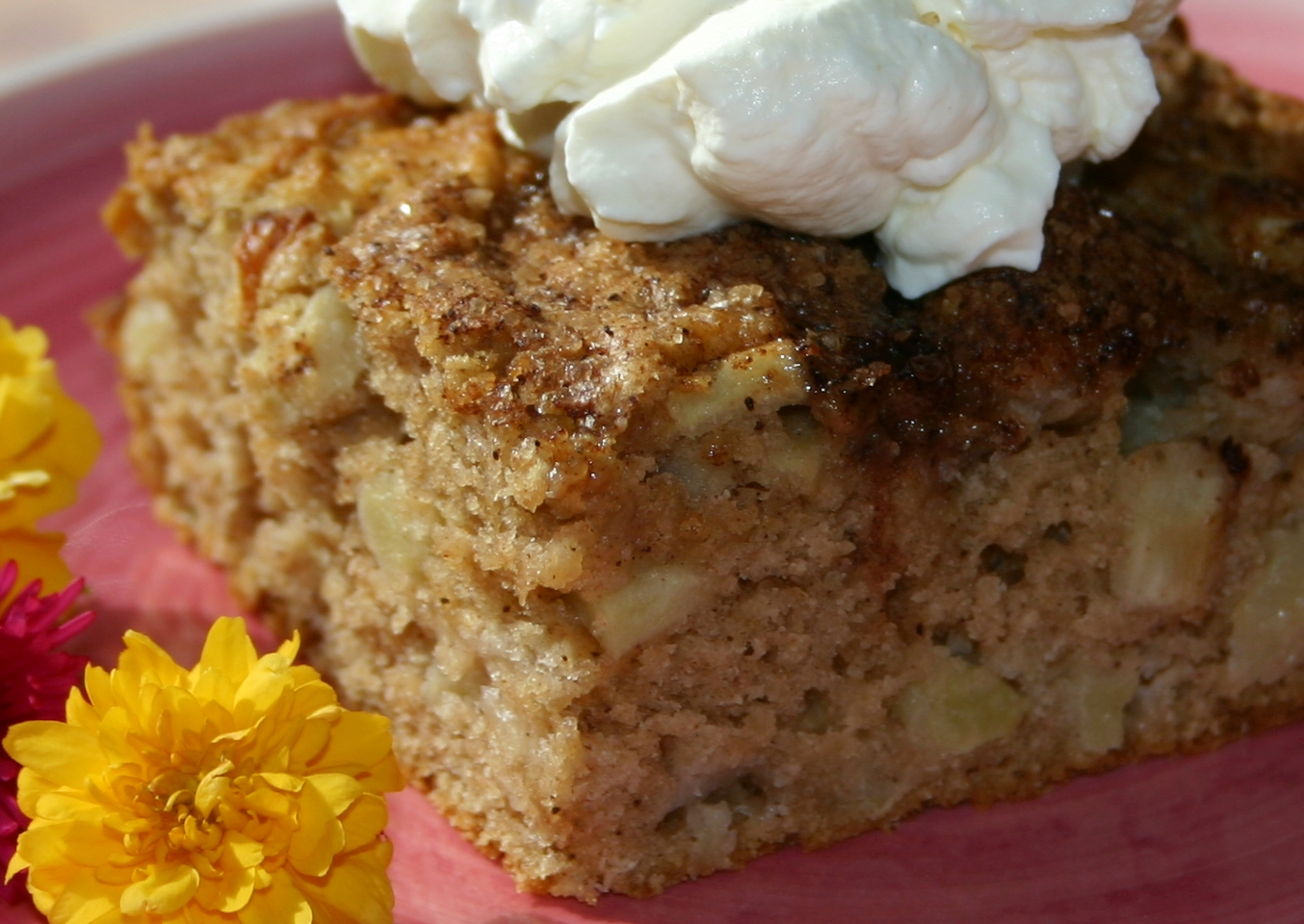 Spicy apple cake words and herbs